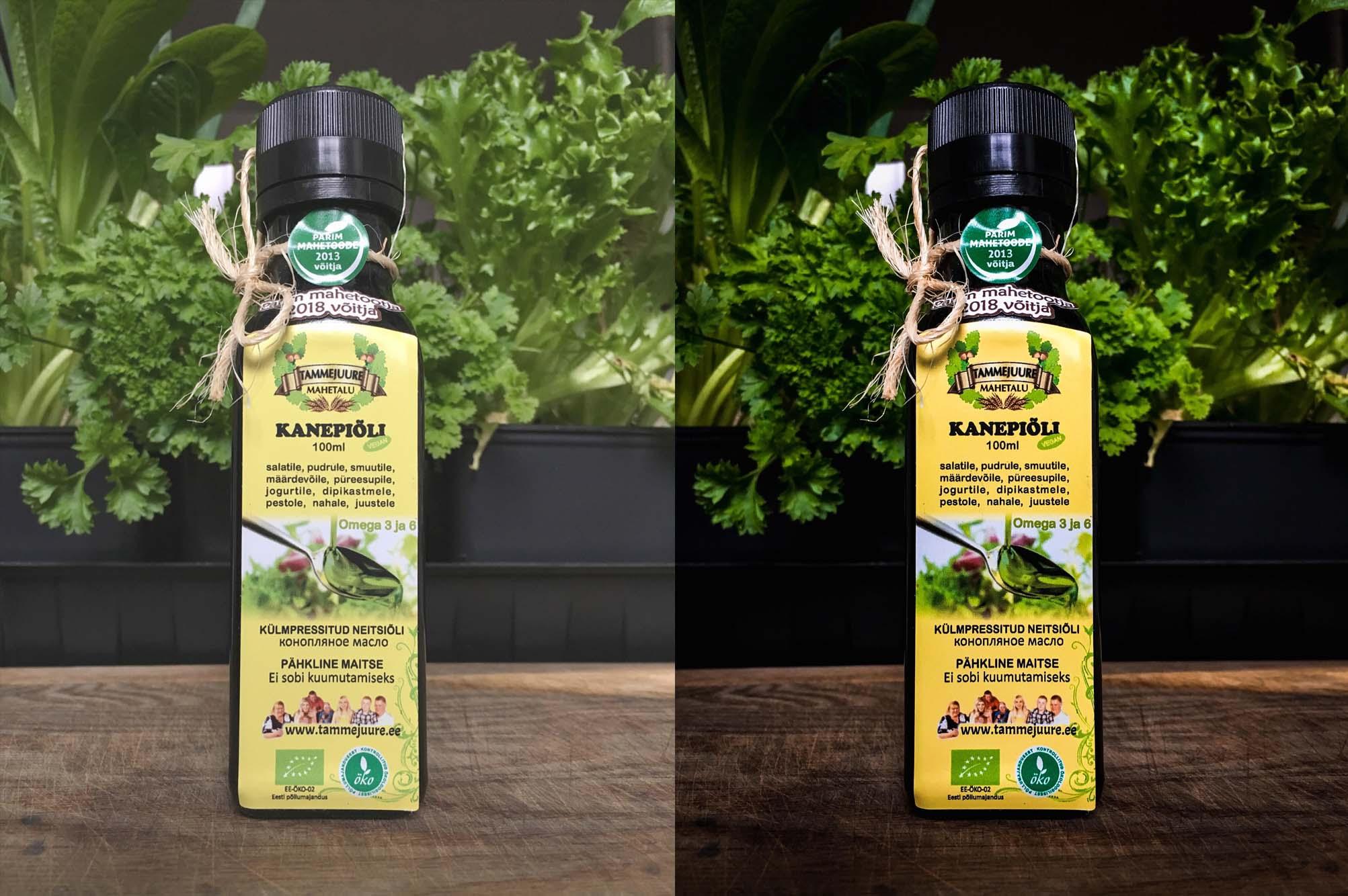 tootefoto enne ja pärast