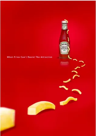 Tark juhtjoonte kasutamine Heinzi reklaamis.